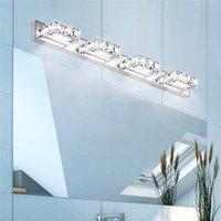 9W 3 조명 크리스탈 표면 욕실 침실 램프 따뜻한 흰색 빛 실버 슈퍼 밝기 방수 벽 램프