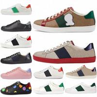 2021 Lüks Tasarımcılar Ayakkabı Erkek Kadın Sneaker Rahat Ayakkabılar En Kaliteli Yılan Chaussures Deri Sneakers ACE Arı Nakış Ayakkabı 36-4 P7XP #