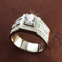Dimensione 8-13 Vendita calda Gioielli 10kt oro bianco riempito bianco topazio gemma uomo matrimonio simulato anello di fidanzamento di nozze set regalo 56 N2
