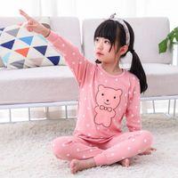 Invierno gilrs chico algodón ropa de noche manga larga pijama pijama dibujos animados niños pijama sets niños ropa de dormir niños pequeño bebé pyjamas1