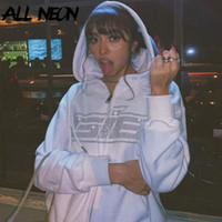 Allneon Y2K мода горный хрусталь на молнии негабаритные толстовки E-Girl старинные сплошные буквы с длинным рукавом черные кофты осенние наряды