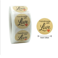 롤에 500pcs 크래프트 종이 씰링 스티커 레트로 라운드 선물 빈 사탕 포장 심장 모양 파티 비즈니스 스테이션 BBysnr