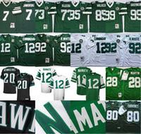Vintage 12 Randall Cunningham Joe Namath Klecko Brian Dawkins Wayne Chrebet Curtis Martin Dennis Byrd Reggie White Green Football Jerseys