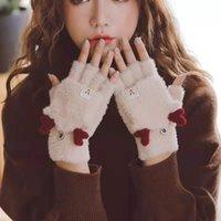قفازات للنساء في فصل الشتاء بالإضافة إلى المخملية فليب نصف إصبع نصف الإصبع في فصل الشتاء النسخة الكورية من المد سميكة ديو الإصبع للكتابة