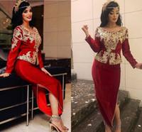 Karakou Algéri Borgoña Vestidos formales Vestidos formales de manga larga Gold Lace Bordado Velvet Peplum Arabic Kaftan Vestidos de baile Robas