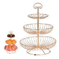 Ferro tre strato cestino cestello da frutto piatto cucina cucina ciotola staccabile metallo torta stand dessert dessert holder organizer