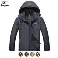 LNGXO Yağmur Ceket Erkekler Tırmanma Kamp Yürüyüş Avcılık Giysileri Açık Kayak Erkekler Için Goretex Rüzgarlık Ceket 7XL Q1202