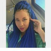Мода африканских синтетических плетеных волос парики синие плетеные парики с детскими волосами термостойкие синтетические кружевные фронтские парики для чернокожих женщин