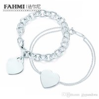 Fahmi Charme für Geschenke 925 Sterling Silber herzförmige Frauen Elegante TIF-Armband-Schloss TIF-Armband Silverware-Matching World Free Shippin