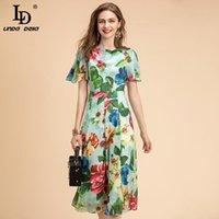 Robes décontractées Ld Linda della Mode Designer Robe d'été Femmes Papillon Manches Vintage Rose Flower Imprimer Mesdames Moyenne Midi Midi