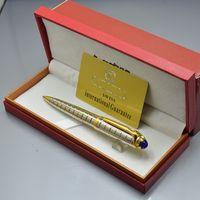 6 clors de alta qualidade prata / preto caneta de esferográfica administrativa artigos de papelaria de escritório suprimentos luxuos escrever canetas de recarga com caixa