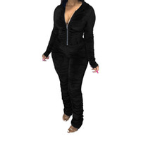 Womens Stacked Hoodies Jumpsuit Long Sleeve Zipper Slim Fit Rompers Ladies Solid Color Jumpsuit