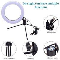 Nuevo diseño de 8 pulgadas de diámetro 20 cm LIGHT LIGHT DESKTOP Trípode 13W 5V 84LED Lámpara Beads Luz blanca Conexión USB Luz de anillo regulable