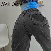 Dames jeans Gothic Pocket Heart Cut Out Gray Denim Broek Hoge Taille Skinny Bleeked Rechte Been Vintage Vriend Grunge Bottoms