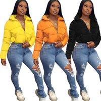 Tamaño Puffer chaqueta S-3XL Plus señoras de las mujeres puffa acolchadas chaquetas Recortar la capa de la cremallera Outwear acolchado manera ocasional de Deporte Ropa de calle F111802