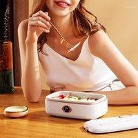220 فولت مربع الغداء الكهربائية ثلاثي الأبعاد التدفئة طنجرة الأرز الذكي المحمولة متعدد المعالجة الحرارية طباخ 300W1