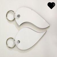 DIY 2 unids llavero amor corazón en forma de corazón Tag valentine día pareja llavero regalo de madera sublimación en blanco Dos laterales MDF 2 3BD G2