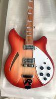 Cina Made 12 String Guitar Guitar Rosso 12 Corde Chitarra elettrica Semi Srow Body Triangle Triangle Della Triangle Pearloid Derboard Inlay
