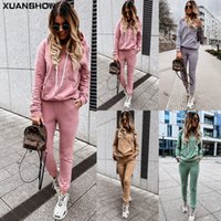 XuansHOw Retrieve Damenmode 2 Zarte Set Training Anzug Lange Mouwen Hoodies + Broeking Jogging Anzüge Sportbekleidung S-XXL