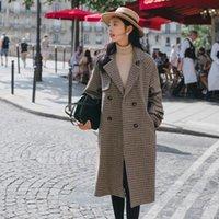 한국어 긴 느슨한 격자 무늬 사무실 - 레이디 2020 패션 여성 코트 더블 브레스트 겨울 오버 코트 벨트 가을 겉옷 여성 재킷