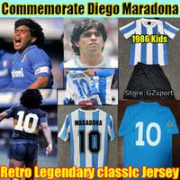 Conmemoración diego maradona retro 1978 1986 Argentina 1987 1988 Napoli 1981 Boca Juniors Soccer Jersey Vintage Classic Football Shirt Kit Kid