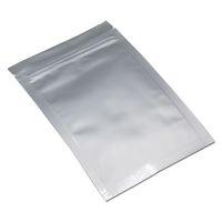 15 * 26cm Silber Reiner Aluminiumfolie Reißverschluss Verpackungstasche Lebensmittel-Snack-Einzelhandel Mylar-Reißverschluss Tränenkerch Lagerung Verpackungsbeutel