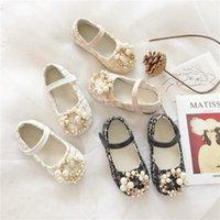 ZWA 2-7 سنة أطفال بنات بو لينة أسفل الأميرة الرجعية القليل عطرة اللؤلؤ أحذية واحدة ربيع الخريف أحذية الرقص