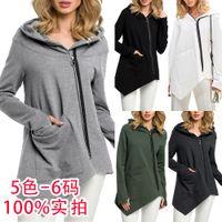 2 색 S-X XXL 여성의 캐주얼 섹시한 패션 새로운 스타일의 오블 리크 지퍼 스웨터 불규칙한 포켓 카디건 톱 285993993422295