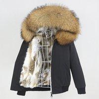OFTBUY Su Geçirmez Bombacı Parka Kış Ceket Kadınlar Gerçek Tavşan Kürk Doğal Fox Rakun Kürk Yaka Hood Çıkarılabilir Yeni 210203