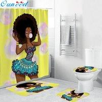Ouneed 4pcs 아프리카 여자 방수 욕실 샤워 커튼 세트 안티 슬립 3D 인쇄 화장실 폴리 에스터 커버 매트 세트 드롭 선박 새로운 T200624