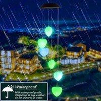 Vendita calda Solar Solar Intelligent Light Control Love Style Vento Chime Corridor Decorazione Ciondolo Pannello solare Nero Black Colorful Light impermeabile