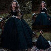 Siyah Uzun Kollu Çiçek Kız Elbise Düğün Kristal Kanat Boncuklu Dantel Aplikler Kızlar için Pageant Törenlerinde Çocuklar Örgün Giyim