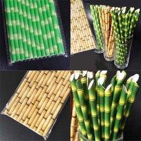Kağıt Kaliteli Saman Çok Renkler Bambu Desen Kağıtları Samanlar Yeşil Cusp Kafa Düz Ağız Emme Tüpleri 0 06XS L1
