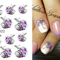 1 feuille beauté violet fleur eau transfert ongles autocollant ongles décalcomanies décalages de bricolage décorations manucure curseurs outils lastz022-1