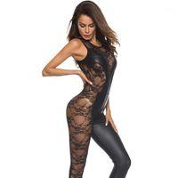 PU-sexy dünne overalls sleeveless vinyl catsuit bodysuits polige tanz kostüm spitze mesh patchwork wetlook faux leder jumpsuit1