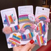 Rainbow Capelli clip gioielli Bambini Principessa Candy Cloud Cloud Five appuntita Stella colorata Scangs Bangs Forcello 3PCS Un set Barrettes Accessorie 3 1JY M2