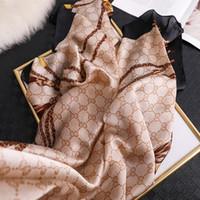 2020 роскошный шелковый шарф для женщин дизайнер печать Follard Hijab Shaws Lady Wraps Beach украл весна бандана шарфы