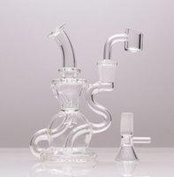 Clear Recycler Dab equipamento mini fumar cachimbo de cachimbo de cachorro 6.1 polegada heigh vidraça com 1 tigela e 1 quartzo banger para presente