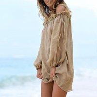 Bikini-Cover-UPS-Strandkleid aus der Schulter häkeln Badeanzug-Titel-up-Spitze langarm Quaste-Krawatte Beachwear-Frauen lose cardigan1