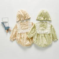 أزياء جديدة طفل أطفال لاك الأزهار المطبوعة رومبير الرضع الفتيات طويلة الأكمام بذلة مع القبعات نمط الكورية الوليد القطن الملابس A5385