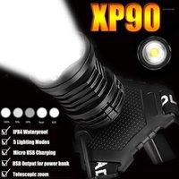 헤드 램프 300000 LM XHP90.2 LED 헤드 라이트 XHP90 높은 전원 헤드 램프 토치 USB 18650 충전식 XHP70 라이트 XHP50.2 줌 헤드 램프 1