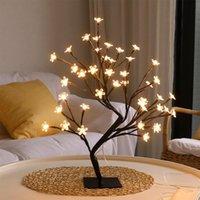 24 Lámpara de mesa Lámpara de mesa de cerezo estilo USB Powered Tree Light Christmas Fairy Desk Desk Dormitorio Sala de estar Decoración Luces