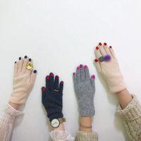 Beş Parmak Eldiven Chic Oje Kaşmir Yaratıcı Kadın Yün Kadife Kalın Dokunmatik Ekran Kadının Kış Sıcak Sürüş