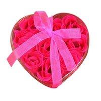 Dekorative Blumen Kränze 9 stücke Herz duftende Simulation Rose Seifenblume Blütenblatt Badkörper Romantische Rot Hochzeit Festival Geschenk