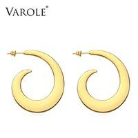 Varole abstrakte Spiralform Drop Ohrringe für Frauen Gold Farbe Große Aussage Zubehör Schleifen Ohrholz Modeschmuck Oorbellen