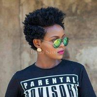 Afro Afro Kinky Celebridade Curta Curto Perucas Com Cabelo Bebê Glueless Virgem Brasileiro Curto Laço Cabelo Humano Perucas