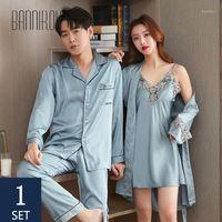 Bannirou correspondant des robes assorties pour couple Slik Satin Impression de Sa et de ses costumes à domicile pour l'amant homme femme endormi robes1