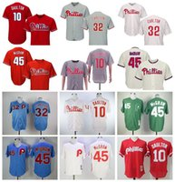 Vintage 1921 1983 Retire Baseball 45 Tug McGraw Jersey 32 Steve Carlton 10 Darren Daulton 8 Juan Samuel Pinstripe Branco Vermelho Cinza Azul