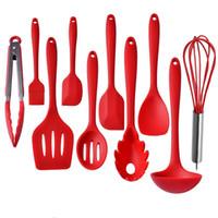Silikon Mutfak Eşyaları 10 Parça Isı Rezitantı Pişirme Fırında Seti Spatula Kaşık Kepçe Spagetti Sunucu Oluklu Turner Pişirme Araçları