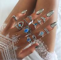 13 pezzi / set monili di moda vintage punk cavo loto tartaruga di tartaruga corona dita congiunta anello esagerato intaglio cuore elefanti anello set